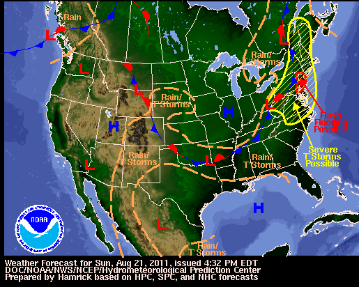 Weather map for Sunday