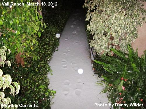 A walkway in South Temecula covered in graupel